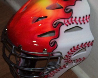 FLAMING BASEBALL Catchers Helmet, Airbrush Rawlings Youth or Adult catchers mask new