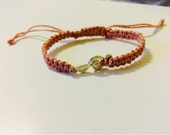 Music Note Hemp Bracelet, Pink Hemp Cords