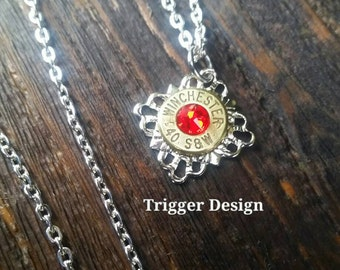 40 Caliber Bullet Necklace with Filigree Base Necklace - Red
