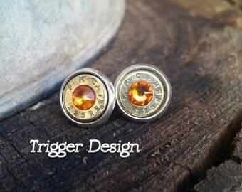 223 Caliber/ AR-15 Bullet Casing Post Earrings- Light Orange