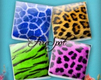 Leopard ZEBRA Animal texture Digital Collage Sheet 1.5inch,1 inch,25 mm,20 mm Square Instant Download.Glass Pendant.Bottlecaps,Scrapbooking