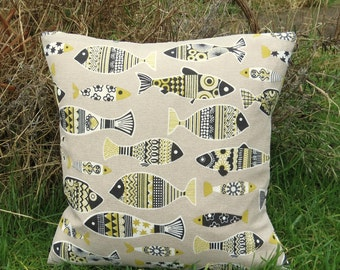Yellow fish.  A whimical fish cushion, complete with feather pad.  37cm x 37cm.