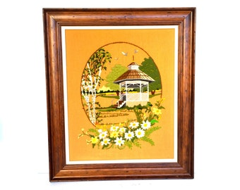Vintage Crewel Stitched Framed Picture Of a Gazebo and Daisies
