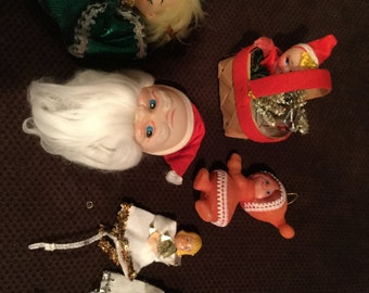 SIX Rare Wonderful Vintage Pipe Cleaner Christmas Angel Ornaments