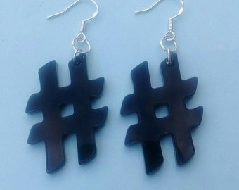 Black Hashtag # Earrings, Laser Cut Acrylic Jewellery
