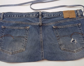 Recycled Blue Jean Apron / Denim Bar Apron / Short Denim Apron