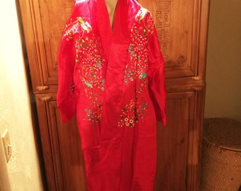 Red Hand Embroidered Blossoms Chinese Kimono Robe S
