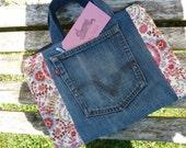 Handmade Jeans Bag Handbag Book Bag Tote Upcycled Levis Lined