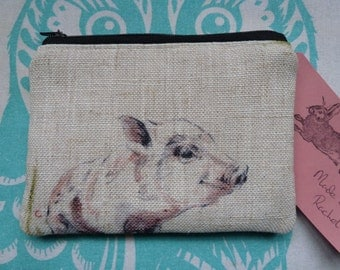 Handmade Coin Purse Makeup Bag Pigs Piglet Linen Fabric Cosmetic Pouch Padded Lined Farm Animals