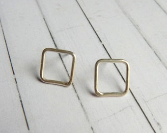 Sterling Silver Square Stud Earrings. Eco Friendly
