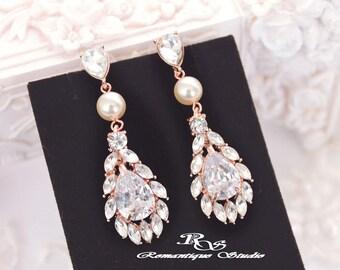ROSE GOLD Pearl CZ earrings, Wedding jewelry, Cubic zirconia earrings, Bridal jewelry, Bridal earrings, Wedding earrings 1342