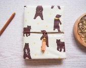 SALE 50% off - Bear Laminated Fabric Fauxdori, Midori Travelers Notebook Cover for A6 notebook for writing journal