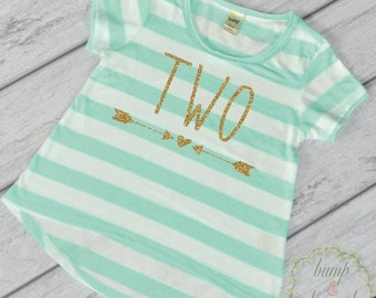 Girl Second Birthday Shirt 2 Year Old Birthday Shirt Girl Two Year Old Birthday Girl Outfit Toddler T-Shirt 2nd Birthday Shirt Green 133