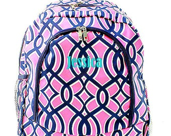 Personalized Ivy Backpack Monogrammed Bookbag Pink Navy Blue Moroccan Trellis Girls Large Kids Tote School Bag Embroidered Monogram Name