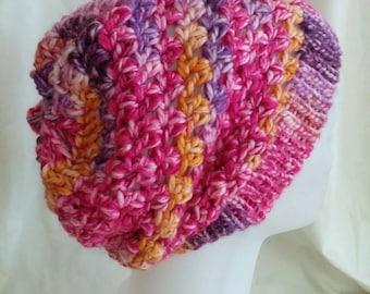 Women's Crochet Slouch Hat- Pink & Purple Multi