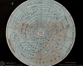 1900.Antique METEOROLOGY map.Atmospheric circulation.115 years old print.From the Nouveau Larousse Illustré.9.1x12.1 inches.23x31cm.