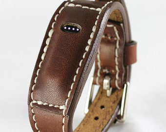 Brown-FitBit Flex Leather Bracelet - Fit bit Band