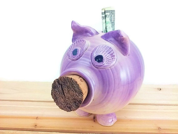purple large ceramic piggy bank for kids by