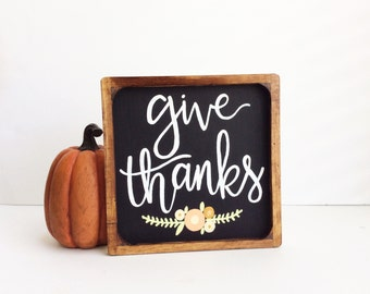 Give Thanks Wood Sign, Fall Sign, Fall Decor, Rustic Fall Sign, Framed Wood Sign, Hand Painted Fall Sign, Thanksgiving Decor, Fall Home