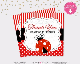 Ladybug Favor Tag - Lady bug Birthday Thank You Tag - Red Black Polka Dots Baby Shower Favor Tags - Instant Download Digital File
