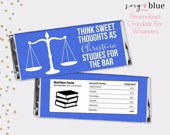 Bar Exam Chocolate Bar Wrapper - Law School Graduation- Blue White Law Student Graduation- Justice Scales Favor Candy Wrap - Digital File