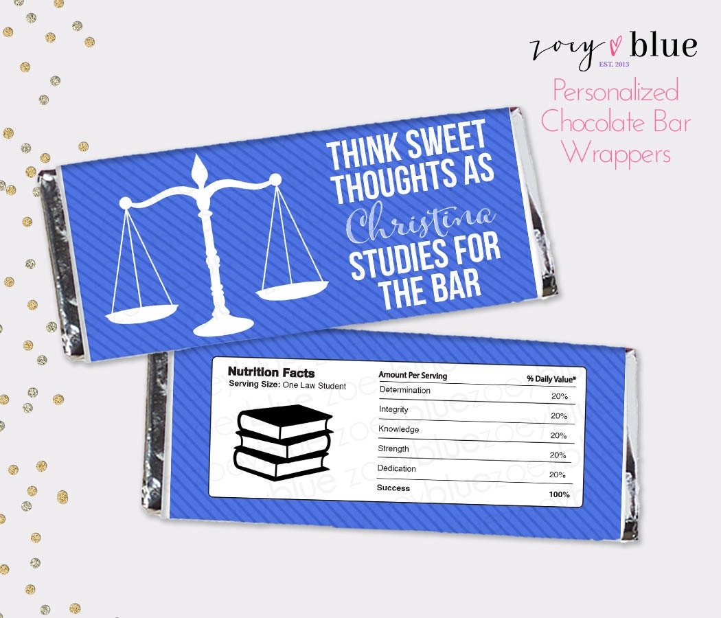 Bar Exam Chocolate Bar Wrapper Law School Graduation Blue