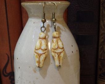 Bone White Czech Glass Venus of Willendorf Fertility Goddess Earrings