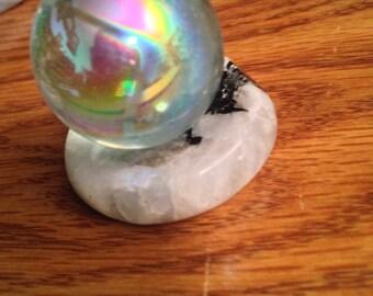Rainbow Moonstone sphere stand