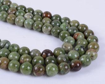 "8MM138 8mm Green opal round ball loose gemstone beads 16"""