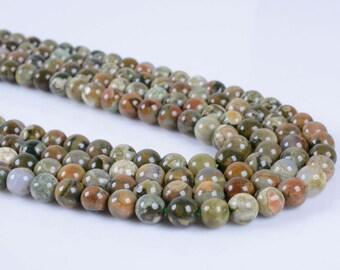 "6MM289 6mm Rhyolite jasper round ball loose gemstone beads 16"""