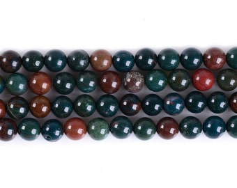 "6MM306 Green Bloodstone Heliotrope round ball loose gemstone beads 16"""