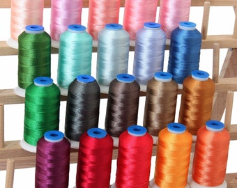 Polyester Machine Embroidery Thread Set 20 Pastel Colors - 1000m Cones - 40wt