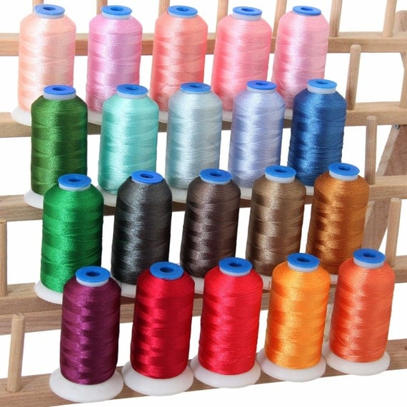 Polyester machine embroidery thread set pastel colors