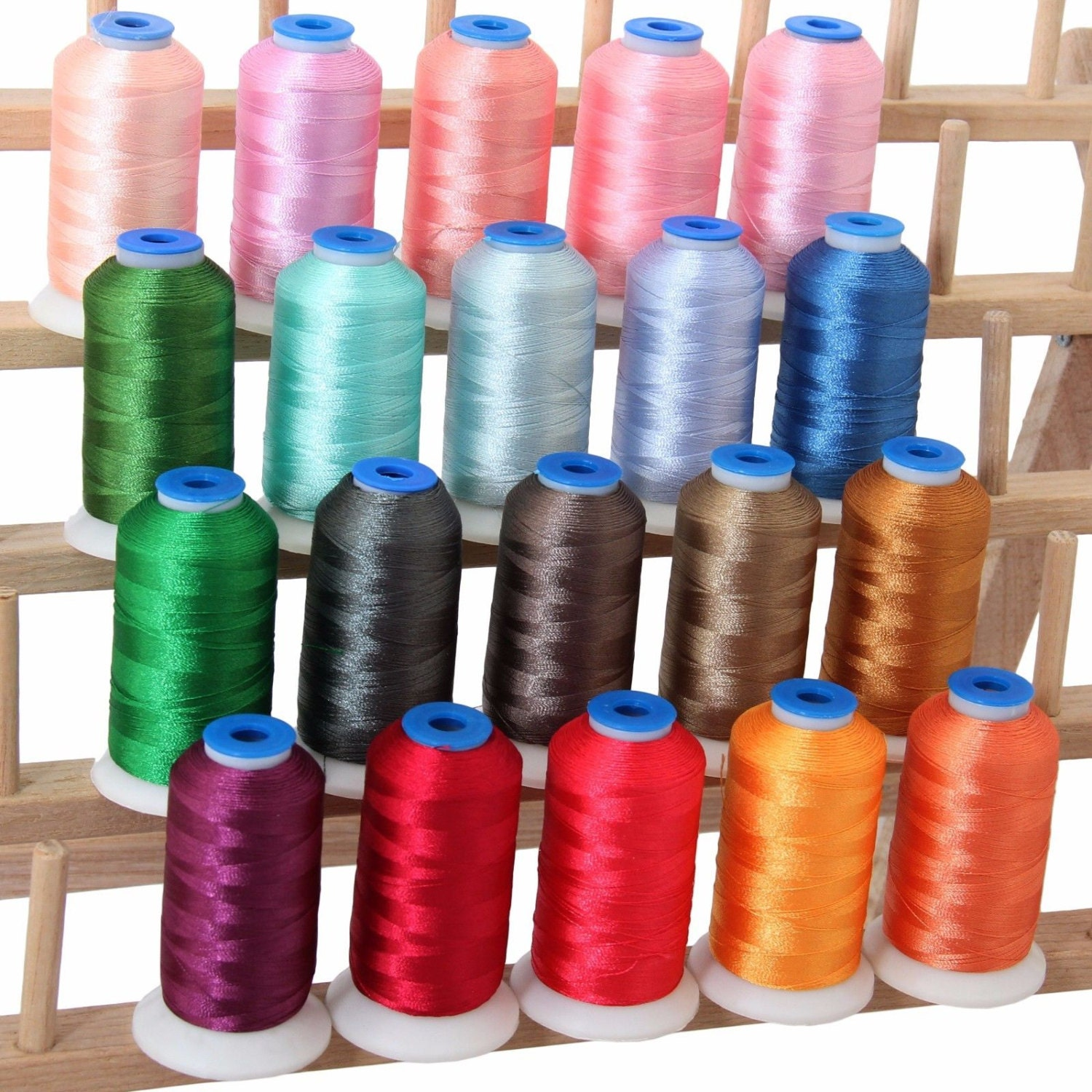 Polyester Machine Embroidery Thread Set 20 Pastel Colors
