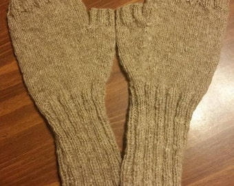 Adult Knitted Light Brown Wool Mitts