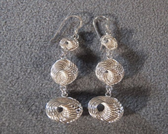 Vintage Sterling Silver Pierced Earrings, A Funky Fun 3-Tier Design that is So Fascinating!~~    **RL