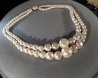 Vintage 2 Strand Multi Graduating Round Large Faux Pearl Necklace    **RL