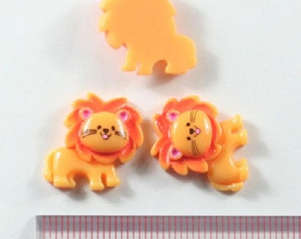 2 pc Lion Resin Flat back Cabochon Hair Bow Center