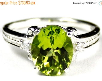 Fall is coming, 30% off, SR136, Peridot, 925 Sterling Silver Ring
