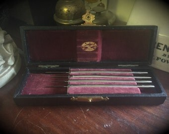 Set of Four Cased Antique Wiess Opthalmic (Eye) Surgery Scapels - Cabinet of Curiosity
