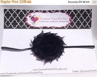 FALL SALE 15% OFF Black skinny shabby headband, infant headband, skinny headband, elastic headband, shabby headband, chiffon flower