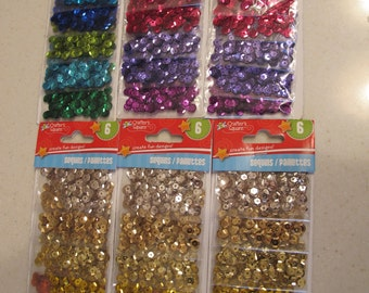 6 Full Packs of Colorful Craft Sewing Sequins Blues Pinks Golds