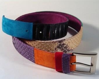 leather belt/patchwork belt/ready to ship