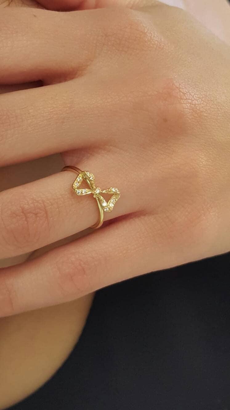 Ring Bow Il Gioiello Personalizzabile Con La Tua Nailart: Solid Gold Bow Ring Diamond Bow Ring Ribbon Ring K18 Knot Ring