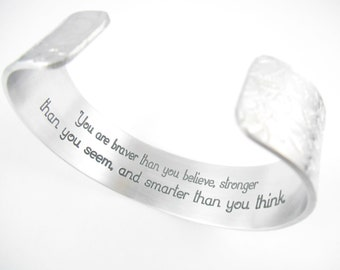 """3/4"""" You are braver than you believe, stronger than you seem and smarter than you think - Survivor, Daughter, winnie pooh, friends"""