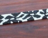 Beaded Bracelet - Beadwork Peyote Cuff -  Handmade Beaded Bracelet - Black and White Flowers