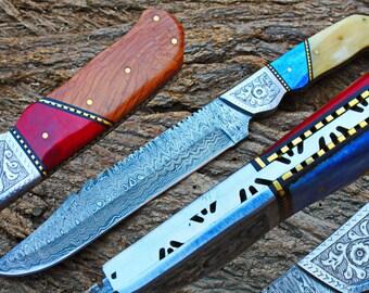 "9.0"" Damascus Blade Collector Hunting Knife w/Engraved Steel Bolsters, Dyed Buffalo Bone,File-Work,Maple Burl wood, Handmade Sheath UDK-F-05"