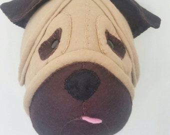 PATRICK PUG - Faux Taxidermy Dog Felt Wall Mounted Animal Head