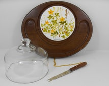 Goodwood Cheese and Crackers Tray Set, Glass Cheese Dome & Wooden Board with Floral Tile and Knife, Vintage 1970s Party