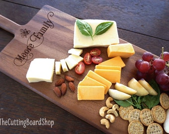 Rustic Cheese Serving Board Engraved Cheese Serving Platter Custom Cheese Board Family Name Acacia Wood Gourmet Housewarming Hostess Gift